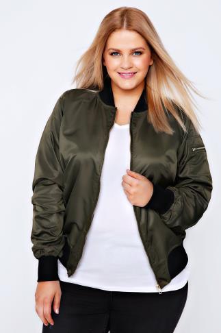 Khaki Satin Bomber Jacket