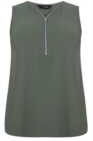 Khaki Sleeveless Top With Zip Neckline