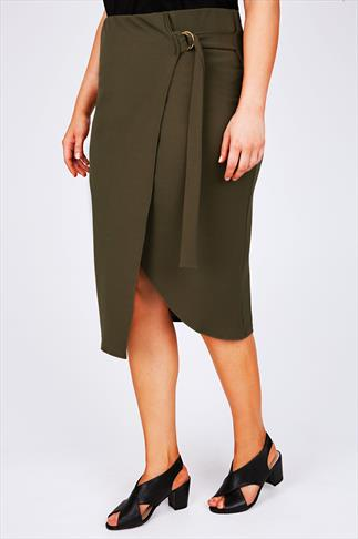 Khaki Wrap From Pencil Skirt