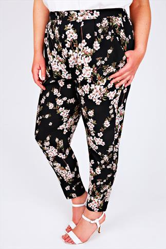 LIVE UNLIMITED Black Floral Print Harem Trousers With Elasticated Waist
