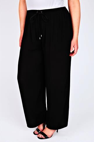 LIVE UNLIMITED Black Wide Leg Trousers With Elasticated Waist