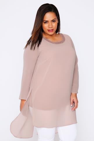 LIVE UNLIMITED Pale Pink Chiffon Longline Top With Beaded Neckline