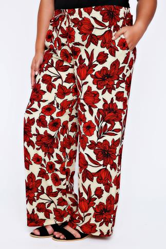 LIVE UNLIMITED Red & Beige Floral Print Wide Leg Trousers
