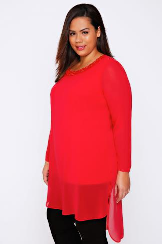 LIVE UNLIMITED Red Longline Chiffon Top With Beaded Neckline