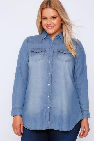 Light Blue Denim Long Sleeved Shirt With Pockets