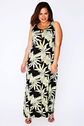 Lime & Black Palm Leaf Print Maxi Dress With Keyhole Detail