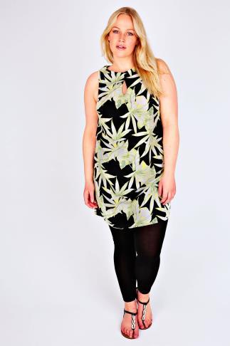 Lime & Black Palm Leaf Print Shift Tunic Dress With Keyhole Detail