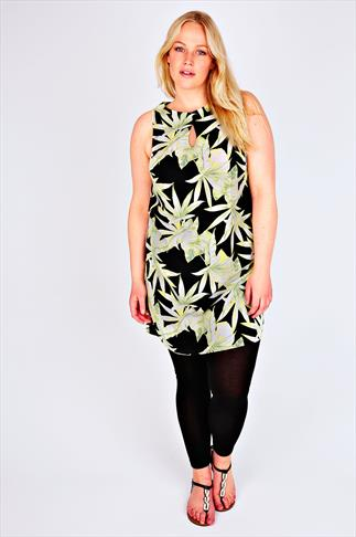 Lime & Black Palm Leaf Print Shift Tunic Dress With Keyhole Detail