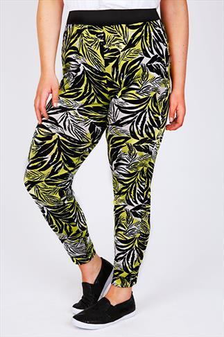 Lime, White & Black Palm Print Jersey Harem Trousers