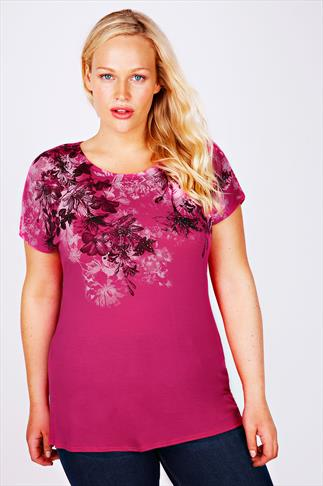Magenta Floral Print Jersey Top With Stud Detail