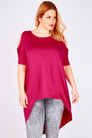 Magenta Oversized Top With Cold Shoulder Cut Out & Extreme Dipped Hem