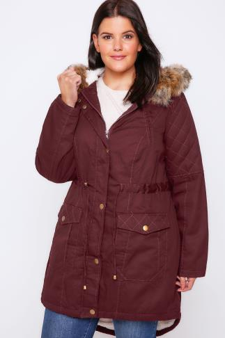 Merlot Twill Lined Parka With Fur Trim Hood