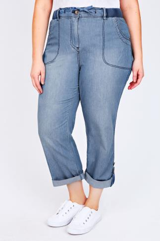 Mid-Blue Denim Slouch Wide Leg Roll Up Trousers 30""