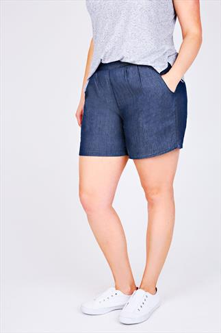 Mid Blue Chambray Denim Shorts