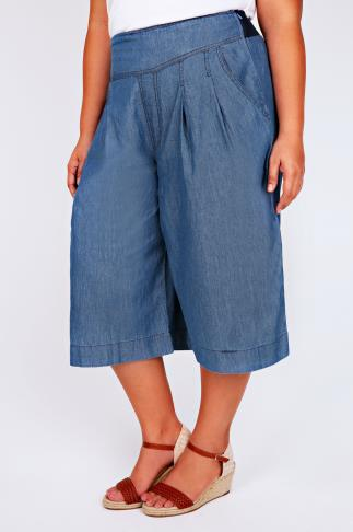Mid Blue Denim Culottes With Pleat Detail & Pockets