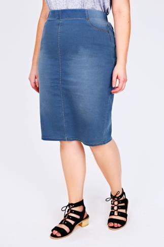 Mid Blue Denim Pull On Midi Pencil Skirt