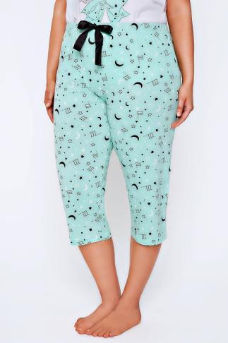 Mint Green & Black Moon & Star Print Cropped Pyjama Bottoms