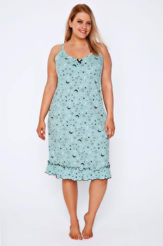 Mint Green & Black Moon & Star Print Night Dress