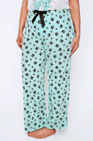 Mint Green & Black Paw Print Cotton Pyjama Bottoms