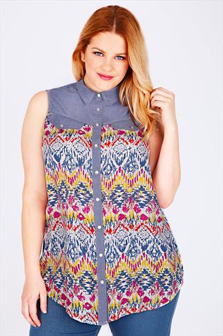 Multi Ikat Print Sleeveless Shirt With Chambray Yoke Panel