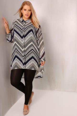 Multi Zig Zag Print Chiffon Longline Shirt With Dipped Hem