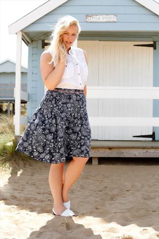 BURNHAM BAY Navy A-Line Midi Skirt With Pink Stitch Border & Floral Print