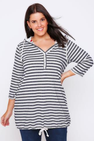 Navy And Cream Striped Hooded Top With Button Detail