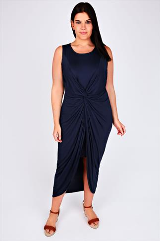 Navy Maxi Dress With Twisted Knot Front Detail