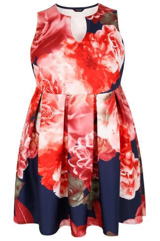 Navy & Multi Floral Print Skater Dress