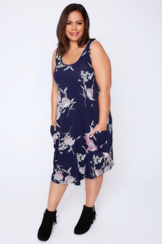 Navy & Pale Pink Floral Print Drape Pocket Sleeveless Jersey Dress