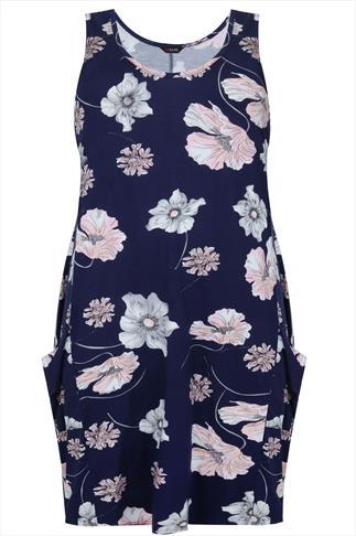 Navy & Peach Poppy Print Drape Pocket Sleeveless Jersey Dress