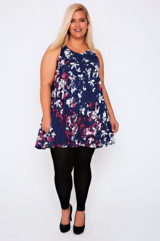 Navy, Pink & White Floral Smudge Tunic Dress