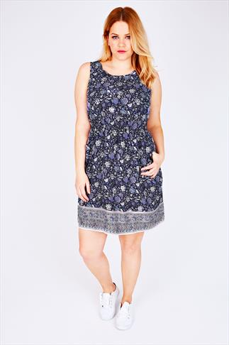 Navy & Purple Floral Print Sleeveless Dress With Pockets