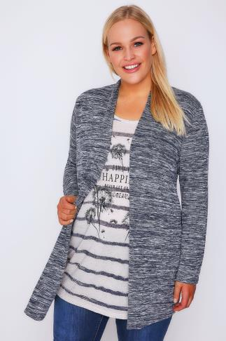 Navy Striped Feather Print 2 in 1 Cardigan Top With Long Sleeves