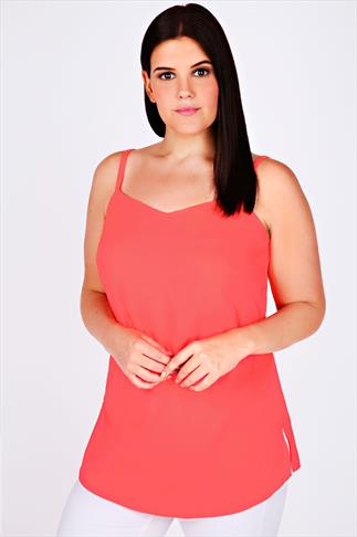 Neon Coral Lightweight Cami Vest Top With V-neckline
