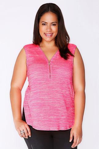 Neon Pink Space Dye Zip Front Sleeveless Top