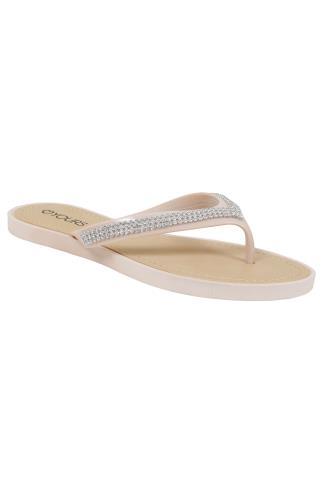 Nude & Diamante Toe Post Sandals In EEE Fit