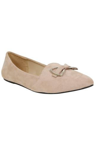 Nude Faux Suede Ballerina Pump With Metal Bow Detail In E Fit