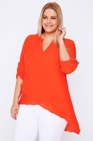 Orange Notch Neck Silky Layer Blouse