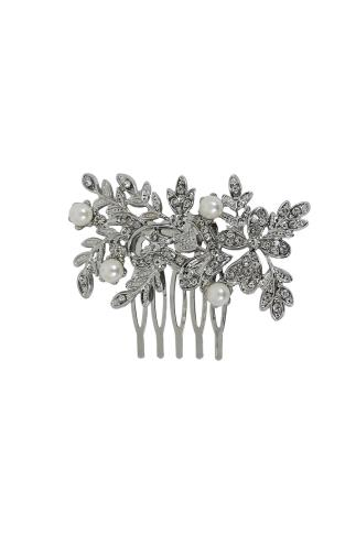 Silver Pearl & Diamante Hair Slide In Leaf Design