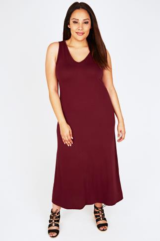 Burgundy Plain V-Neck Sleeveless Jersey Maxi Dress - PETITE