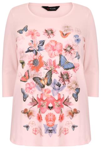 Pale Pink Floral & Butterfly Print T-Shirt With 3/4 Sleeves