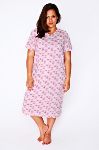 Pale Pink, White & Purple Heart Print Nightdress