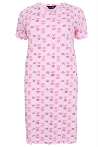 Pale Pink, White & Purple Heart Print Nightdress