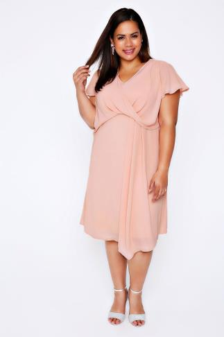 Pale Pink Wrap Front Midi Dress With Angel Sleeves
