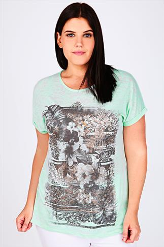 Pastel Green Butterfly & Slogan Print T-Shirt
