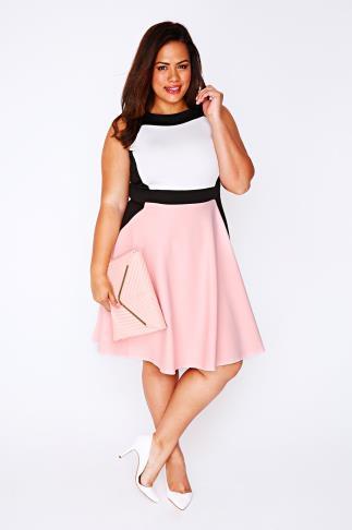 Pastel Pink, Cream & Black Colour Block Skater Dress