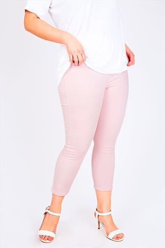 Pastel Pink Denim Cropped Jeggings