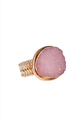 Pastel Pink Natural Stone Stretch Ring