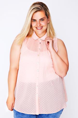 Peach Dot Detail Sleeveless Chiffon Shirt